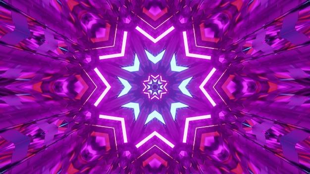 4k uhd 3d-illustratie van stervormig caleidoscopisch ornament dat gloeit met helder paars neonlicht