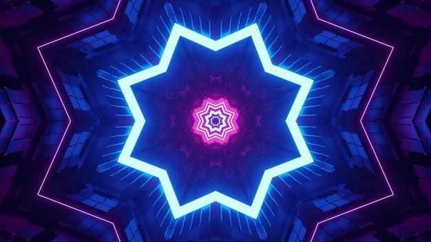 4k uhd 3d-illustratie van stervormige symmetrische tunnel verlicht met roze en blauwe neonlichten