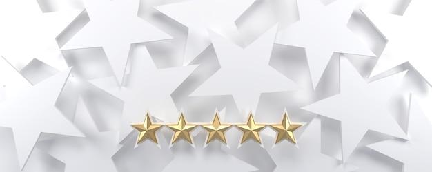 5 gouden sterren op een witte sterrenhemel achtergrond, luxe en beoordelingsconcept.