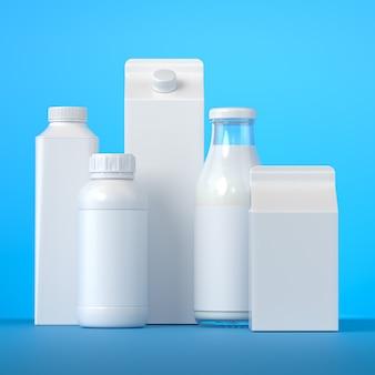 5 soorten blanco melkverpakkingen met de voorzijde op een blauw vlak. 3d-afbeelding