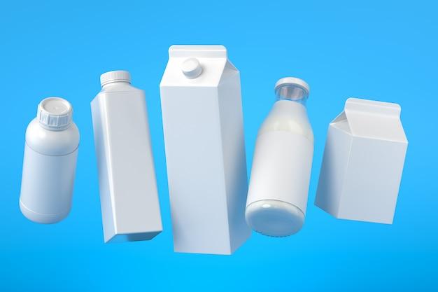 5 soorten blanco melkverpakkingen zwevend op het blauwe oppervlak. 3d-afbeelding