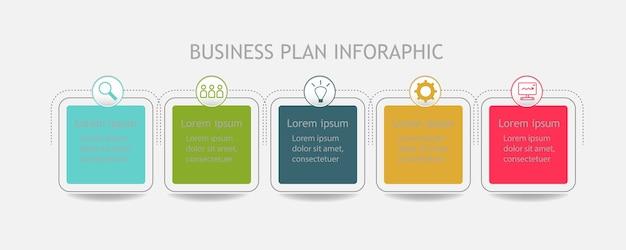 5 stappen van moderne zakelijke verbindingsplan infographic