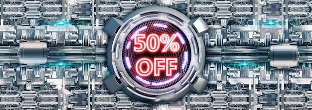 50% korting geïsoleerd op een metalen oppervlak, neon rode cyber promotionele stempel en elektronische technologieproducten.