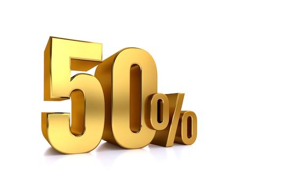 50% korting. te koop. goede deal. half om half. een helft. gerenderde afbeelding geïsoleerde 3d-tekst met grote gouden lettertypen op witte achtergrond.