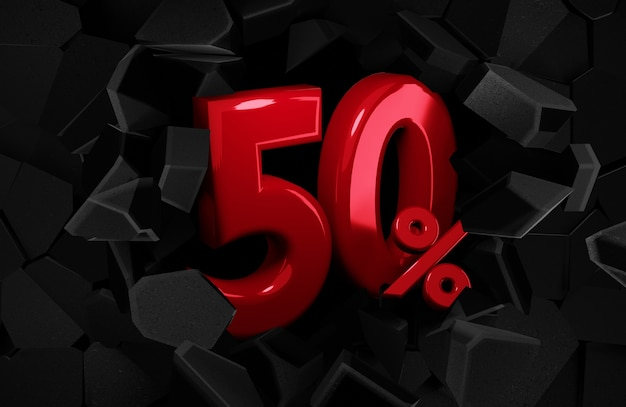 50 vijftig procent verkoop zwarte vrijdag idee in 3d-rendering