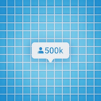 500.000 volgerssymbool in 3d-stijl voor post op sociale media, vierkant formaat