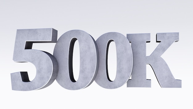 500k of 500.000 dank u 3d woord op witte achtergrond, webgebruiker dank u vieren van abonnees of volgers, 3d render