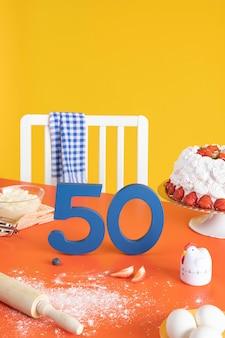 50ste verjaardagsarrangement met ingrediënten voor het koken van taarten