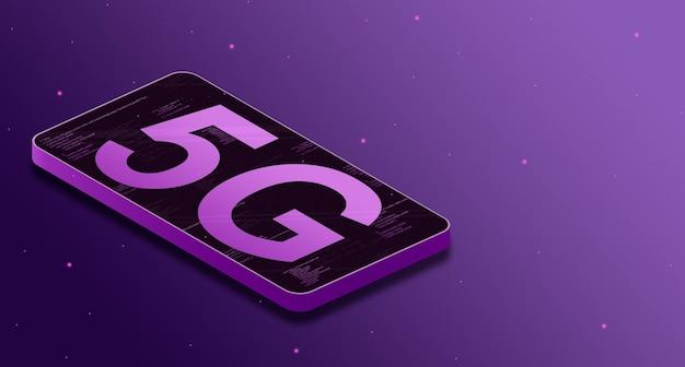 5g belettering op telefoonscherm met code-elementen, toekomstige technologie 3d