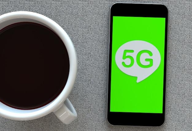 5g, bericht op tekstballon met slimme telefoon en en koffie, 3d-rendering
