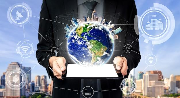 5g-communicatietechnologie draadloos internetnetwerk voor wereldwijde bedrijfsgroei, sociale media