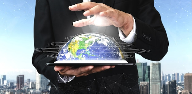 5g-communicatietechnologie draadloos internetnetwerk voor wereldwijde bedrijfsgroei