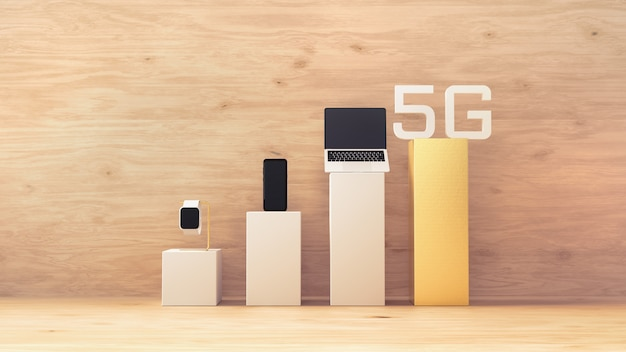 5g draadloze netwerktechnologie, apparaten op mobiele signaalbalk