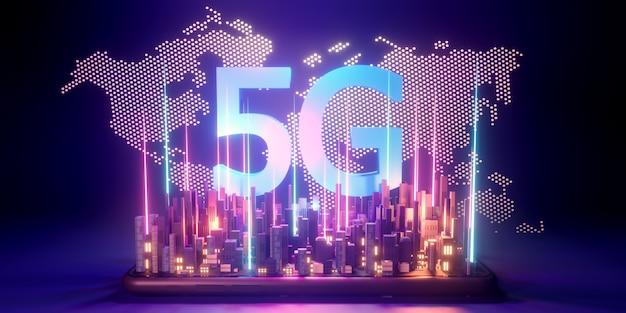 5g high-speed internetconcept, 5g-netwerk draadloze technologie op stadsachtergrond, 3d-rendering