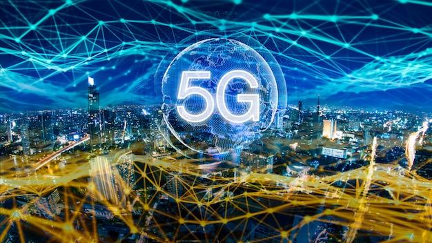 5g netwerk digitaal hologram en internet van dingen op stad