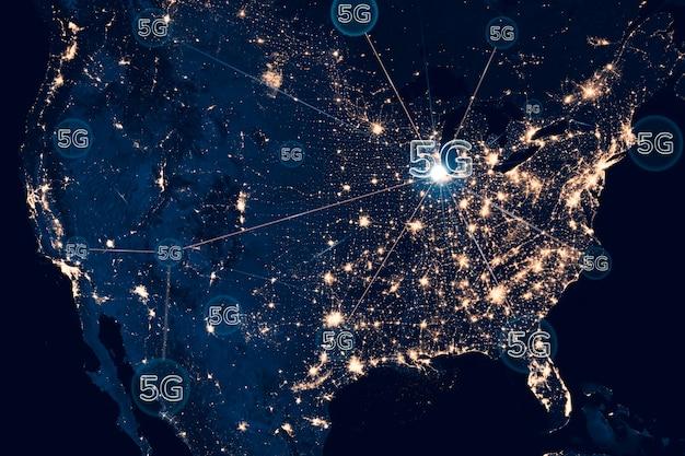 5g-netwerk slimme stad achtergrondtechnologie Gratis Foto