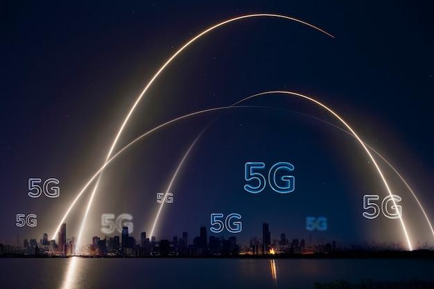 5g-netwerk slimme stad achtergrondtechnologie