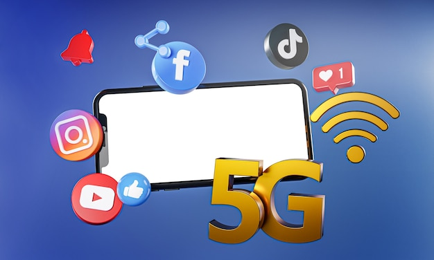 5g populairste sociale media instagram facebook tiktok youtube-pictogrammen.