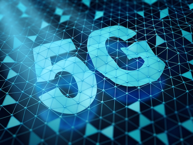 5g-symbool en een netwerk van driehoekige cellen op een donkere achtergrond. 3d render.