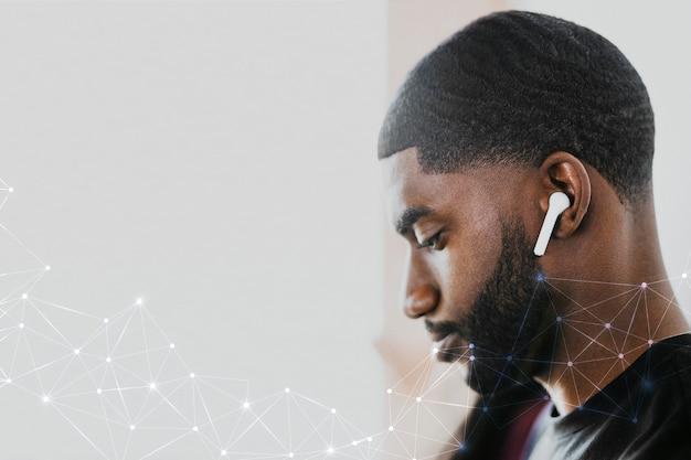 5g wereldwijde netwerkachtergrond psd man streaming muziekservice digitale remix