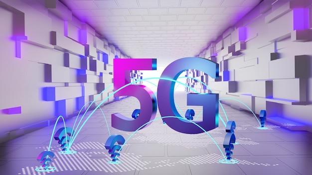 5g wifi-netwerk met futuristische tunnel