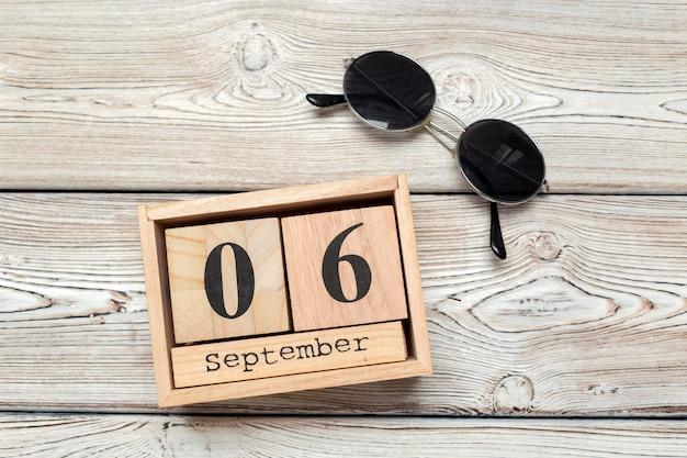 6 september, 6 september op houten kalender