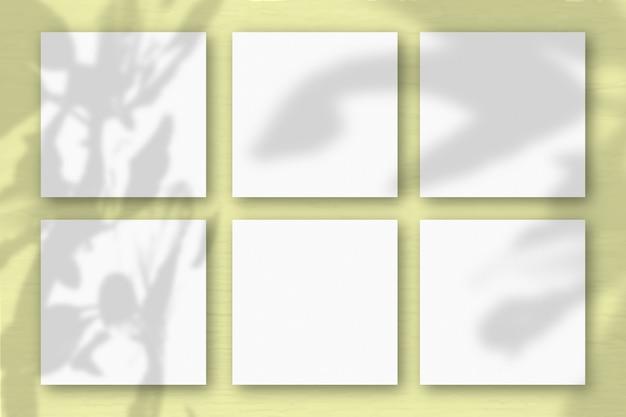 6 vierkante vellen wit gestructureerd papier op de gele muurachtergrond. mockup-overlay met de plantschaduwen. natuurlijk licht werpt schaduwen van de boom van geluk. plat lag, bovenaanzicht. horizontaal