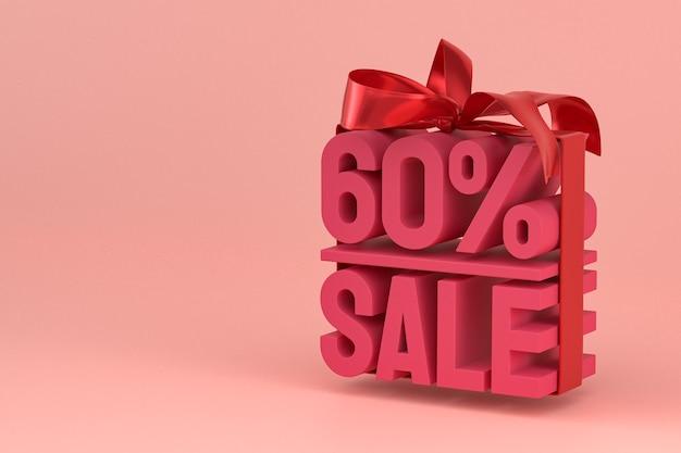 60 procent verkoop met lint en boog 3d-ontwerp