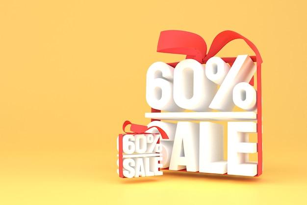 60% verkoop met boog en lint 3d-ontwerp op lege achtergrond