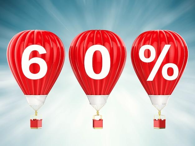 60% verkoop teken op 3d-rendering rode hete lucht ballonnen