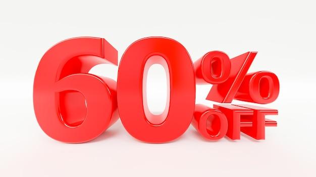 65 procent korting op 3d-tekst op witte achtergrond