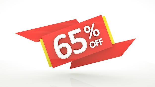 65 procent speciale aanbieding rode cijfers bannersjabloon vijfenzestig procent verkoop kortingsbon