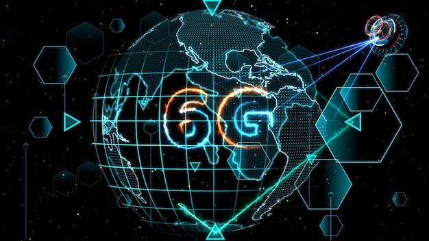 6g netwerk supersnel internet digitale wereldkaart in monitor digitale meter cyclus radar 3d elektronische meter binnenin verzonden gegevens door kwantumsatelliet zend signaal star brust