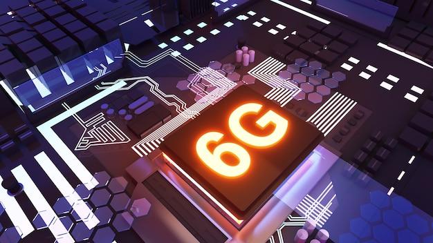 6g technologie abstracte achtergrondillustratie, computersysteem en 6g-systeemapparatuur, 3d-rendering