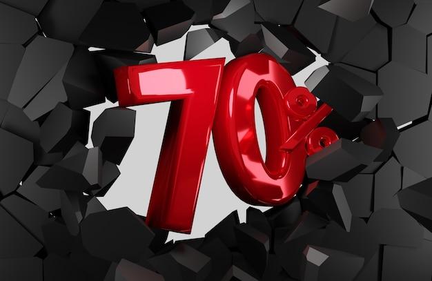 70 procent verkoop zwarte vrijdag idee in 3d-rendering