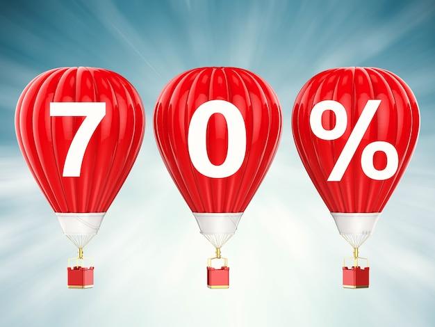 70% verkoop teken op 3d-rendering rode hete lucht ballonnen