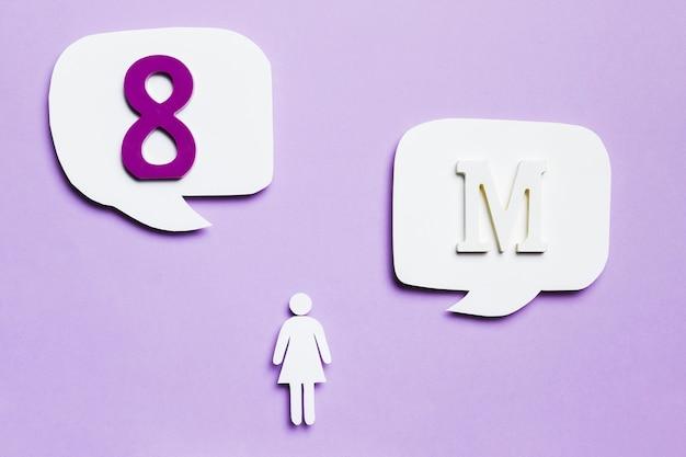 8 maart in tekstballonnen met vrouw