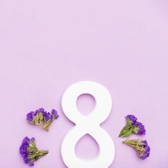 8 maart symbool met bloemen