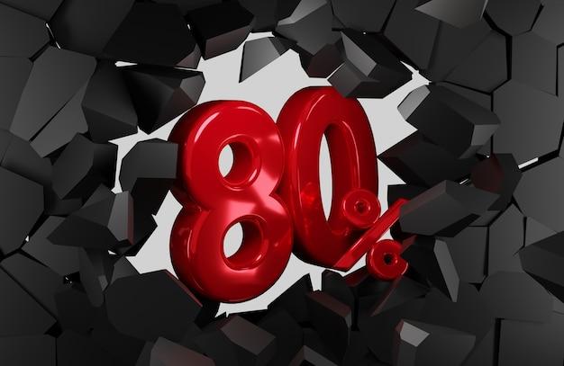 80 procent verkoop zwarte vrijdag idee in 3d-rendering
