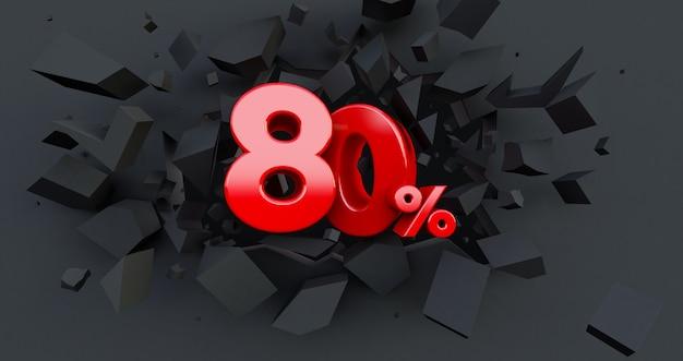 80 tachtig procent verkoop. black friday-idee. tot 80%. gebroken zwarte muur met 80% in het midden