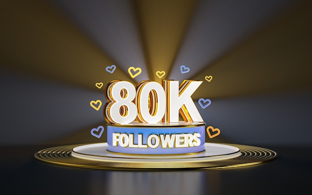 80k volgers viering bedankt sociale media banner met spotlight gouden achtergrond 3d render