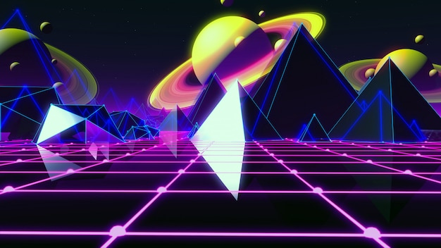80s retro-futuristische achtergrond 80s-stijl