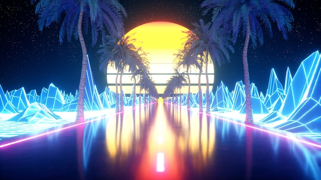 80s retro futuristische sci-fi. retrowave vj videogame landschap, neonlichten. gestileerde vintage vaporwave