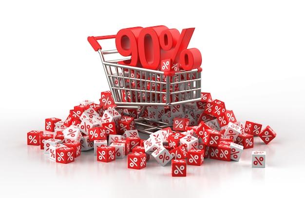 90 procent korting verkoop concept met trolley en een stapel rode en witte kubus met procent in 3d illustratie