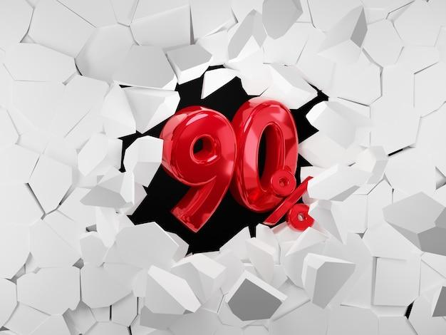 90 procent verkoop zwarte vrijdag idee in 3d-rendering