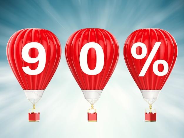 90% verkoop teken op 3d-rendering rode hete lucht ballonnen