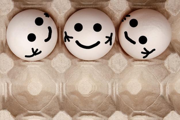 A eieren in aa eieren in een kartonnen bakje en geschikt voor het vervoeren en vervoeren van hele eieren
