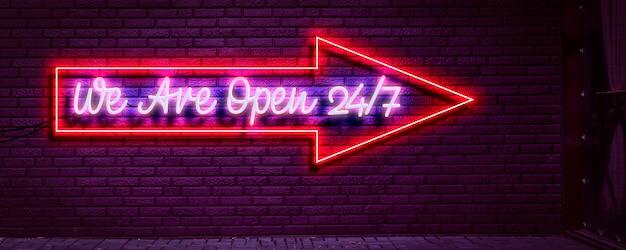 A we are open hours neon bord aan de muur nachtleven verlichte gloed