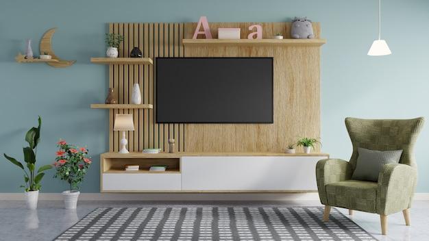 Aan de houten muur in de stijlvol ingerichte woonkamer is een tv gemonteerd met een groene bank