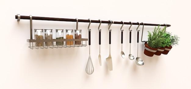 Aan de muur hangen keukengerei, droge bulk en levende kruiden in potten. 3d-rendering.
